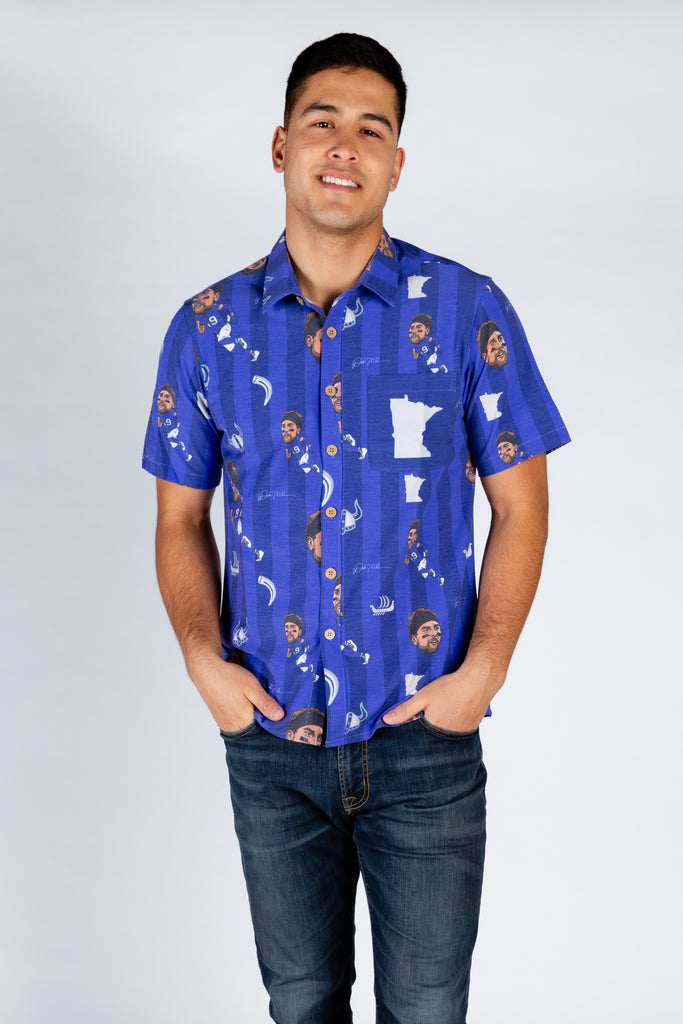 Adam Thielen | Purple Striped NFLPA Hawaiian Shirt