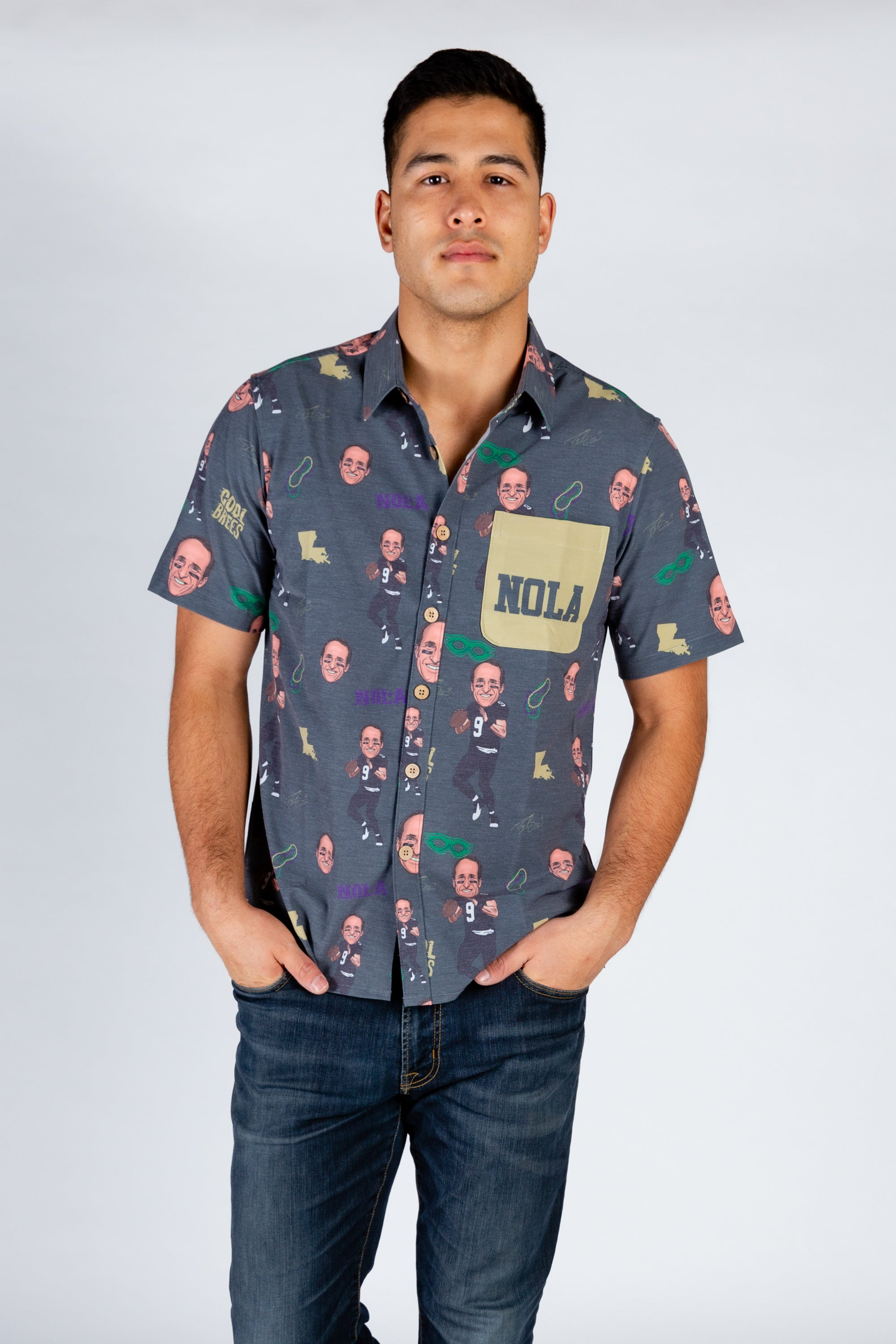 Drew Brees | Black NOLA NFLPA Hawaiian Shirt