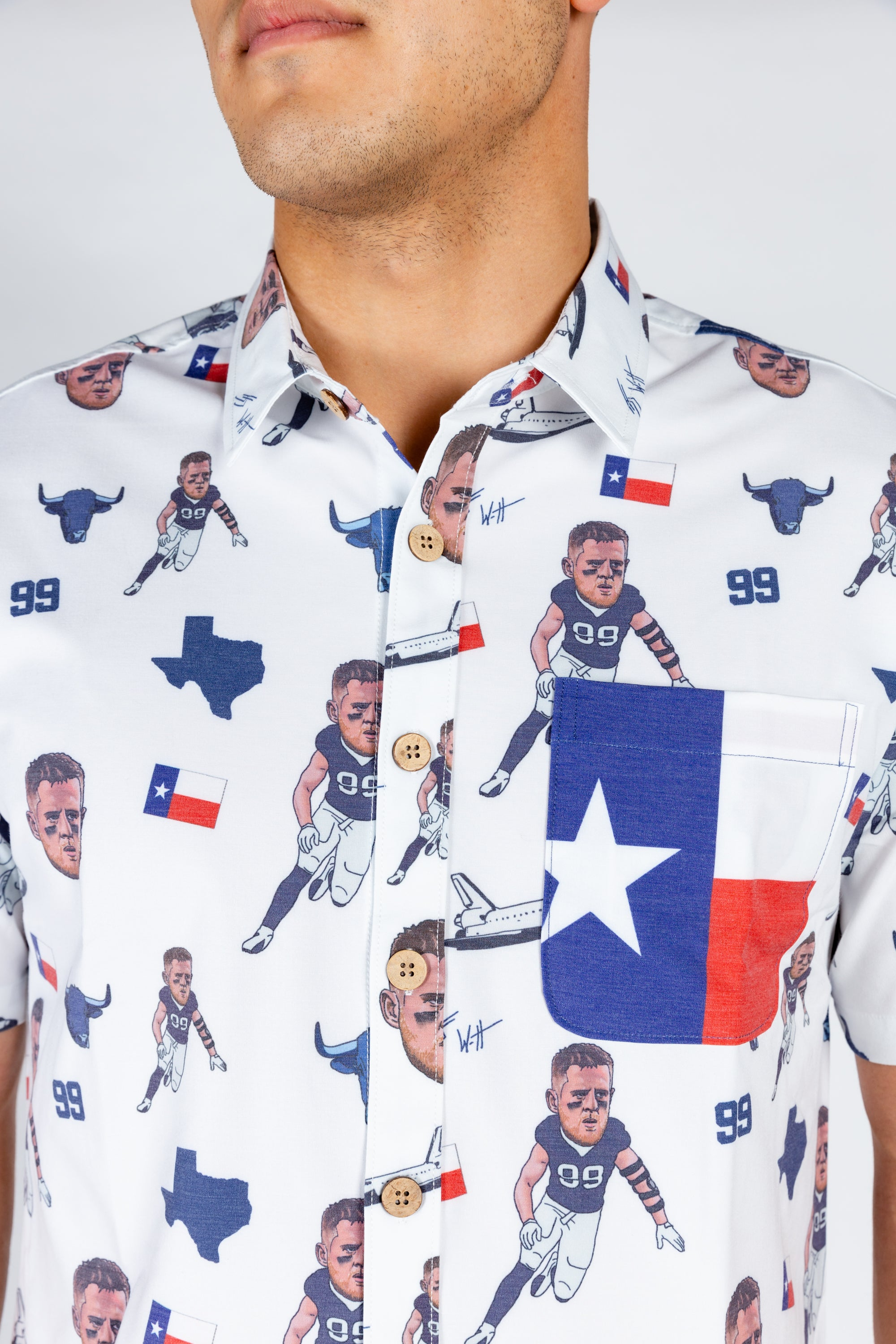 J.J. Watt | White NFLPA Hawaiian Shirt