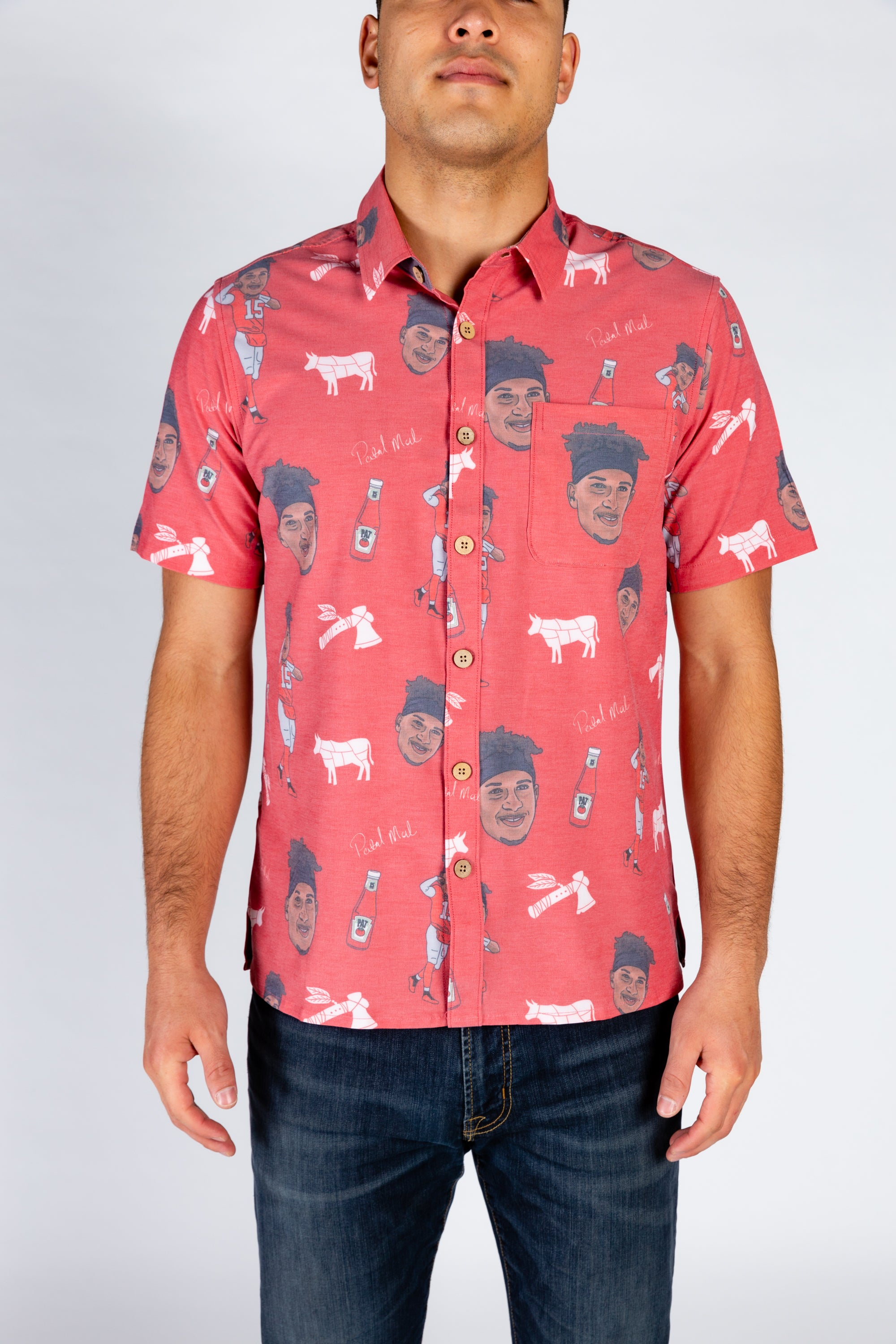 The Patrick Mahomes | Red Tomahawk Hawaiian Shirt