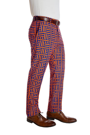 Orange and blue men's patterned pants