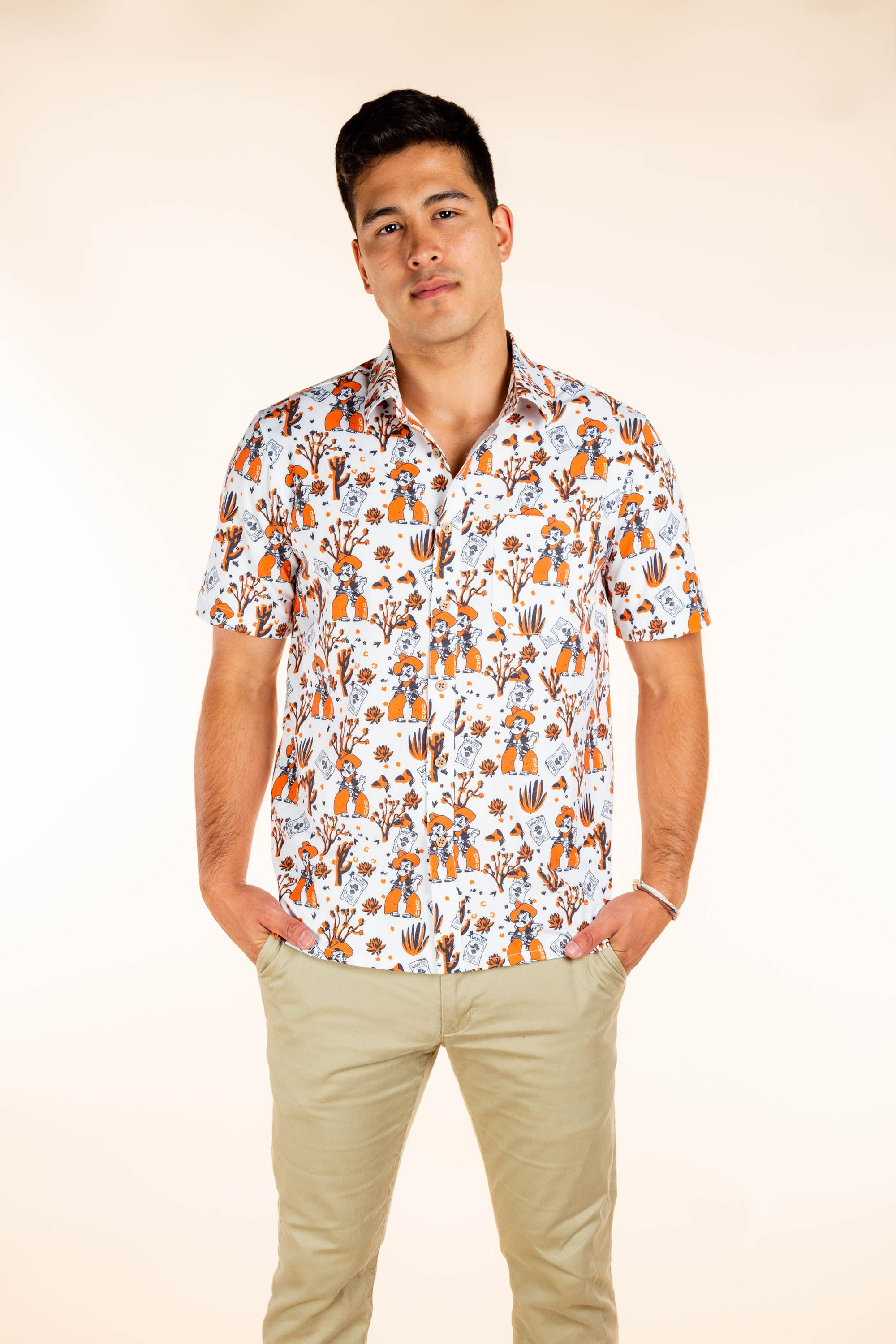 OSU Button Up Pistol Pete Party Shirt