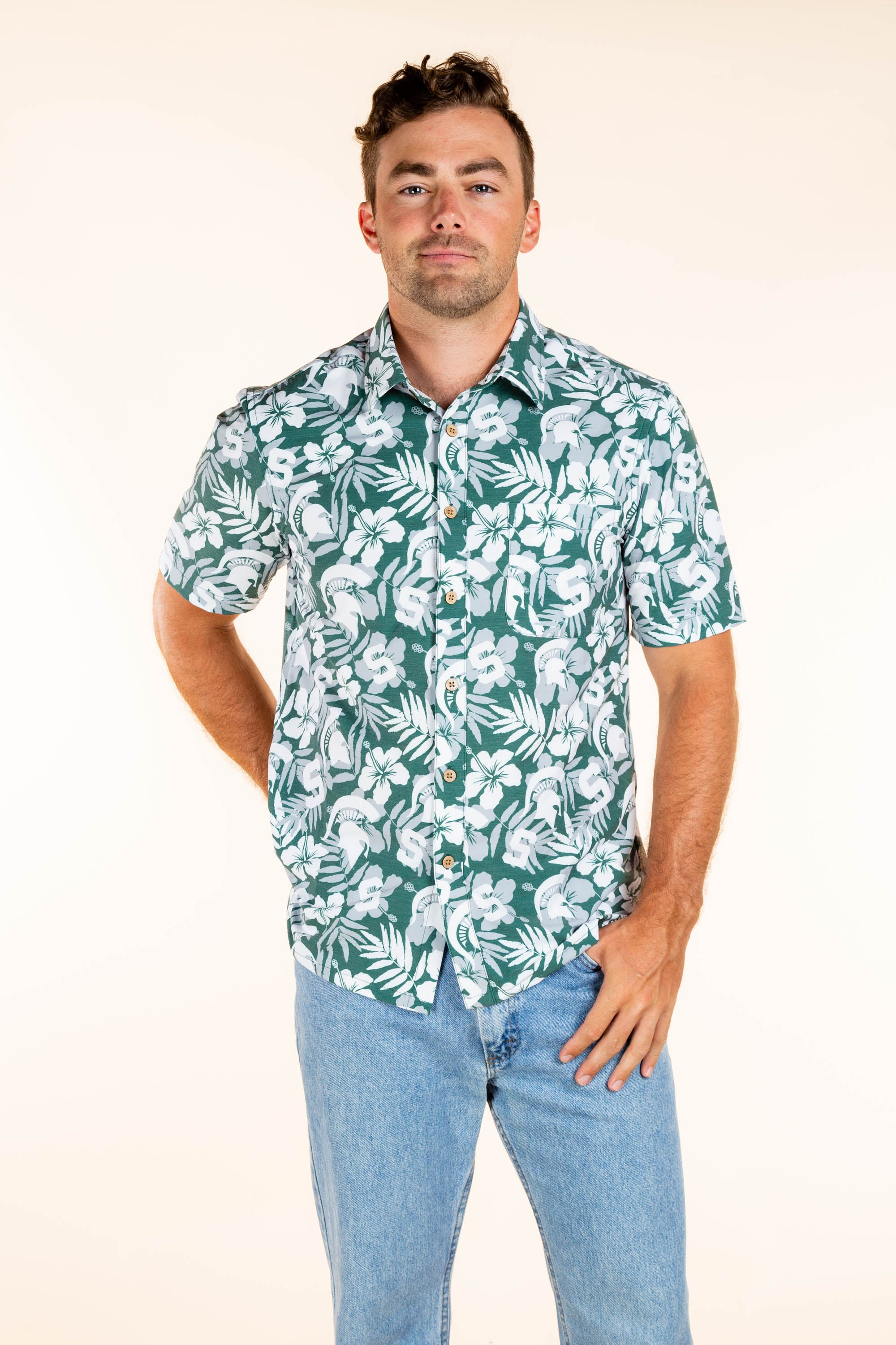 Men's MSU Spartans Hawaiian Party Shirt