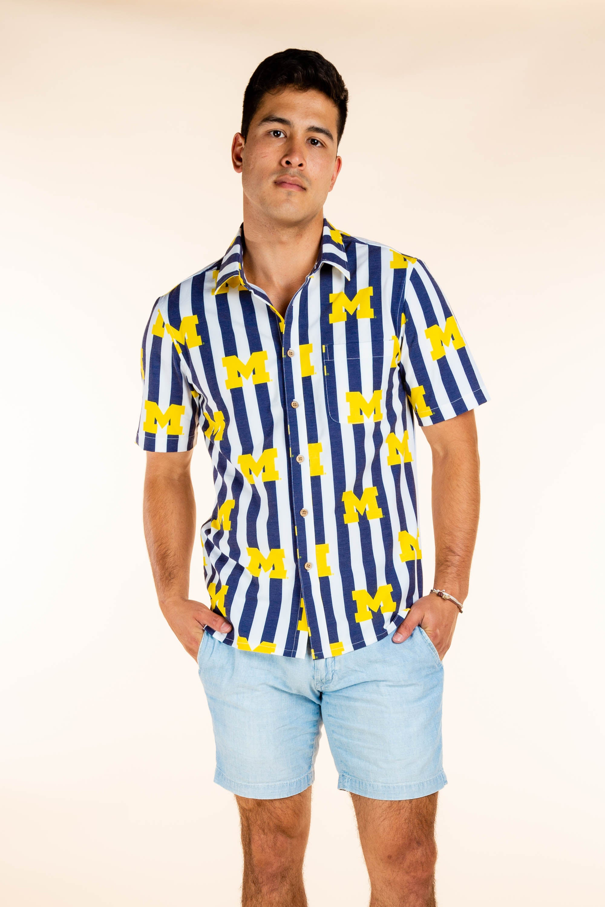 Men's Striped University of Michigan Party Shirt
