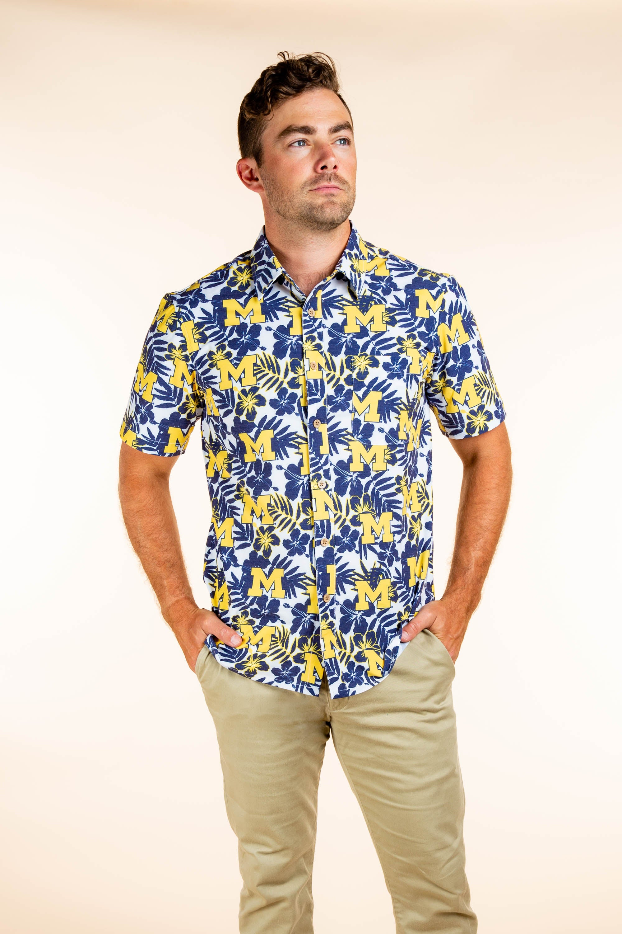 University of Michigan Hawaiian Tailgating Shirt