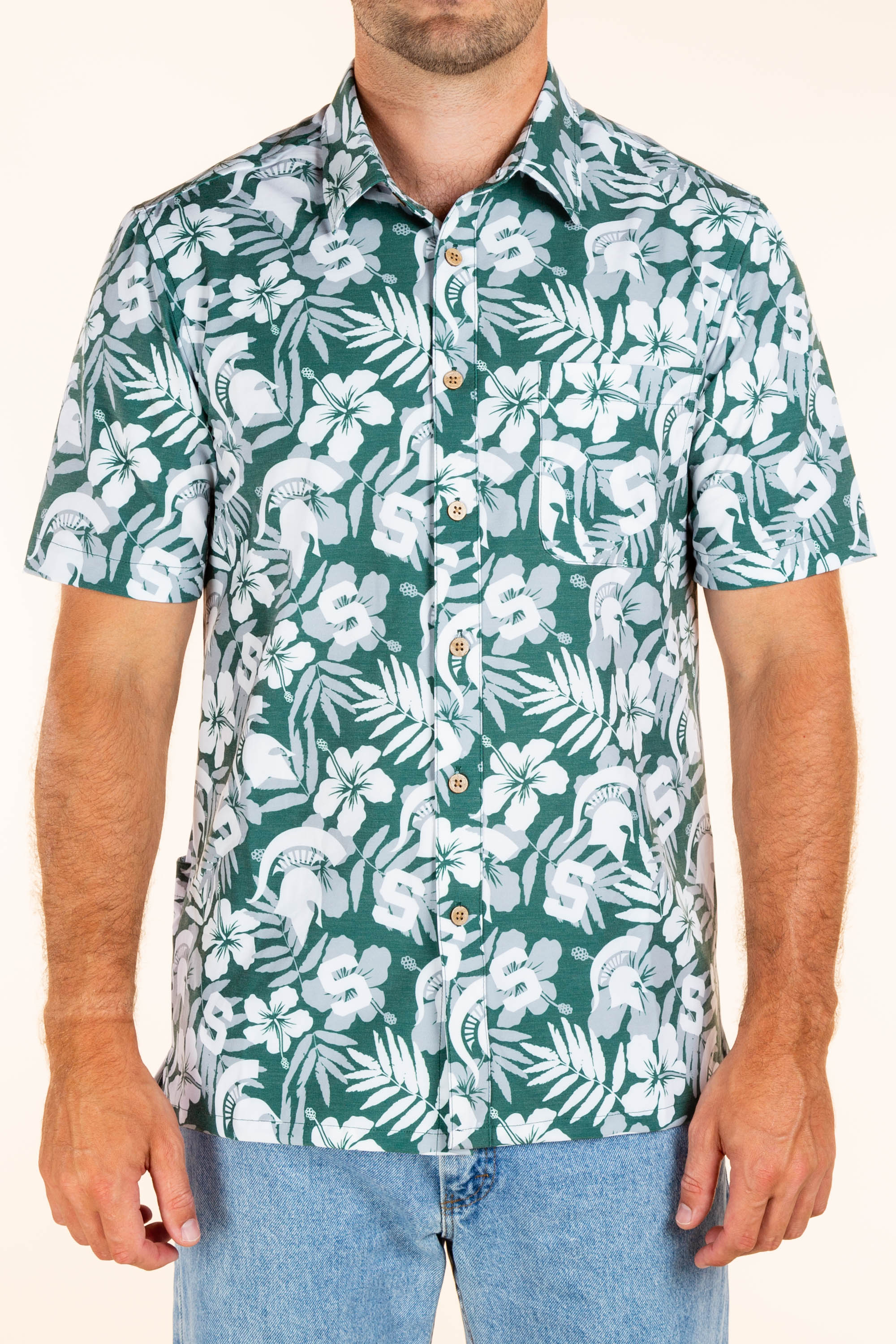 Michigan State Hawaiian Tailgating Shirt