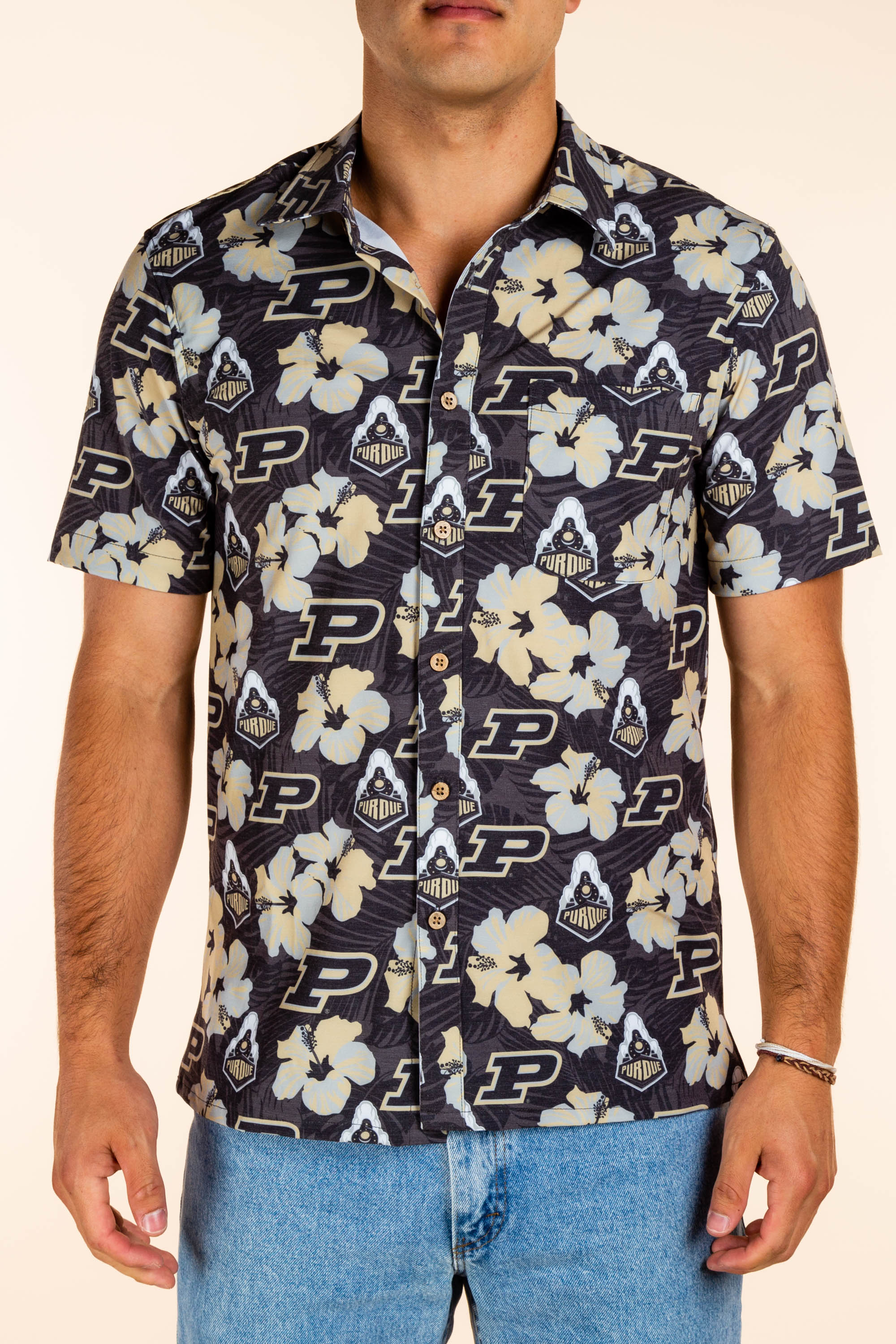 Purdue University Hawaiian Camp Shirt