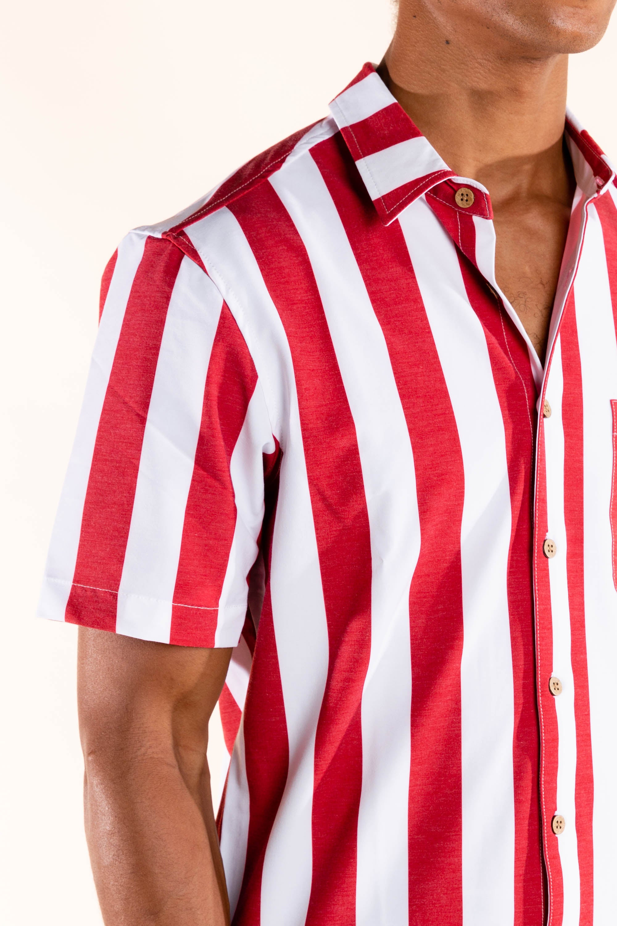 The Indy | Indiana University Red and White Striped Hawaiian Shirt