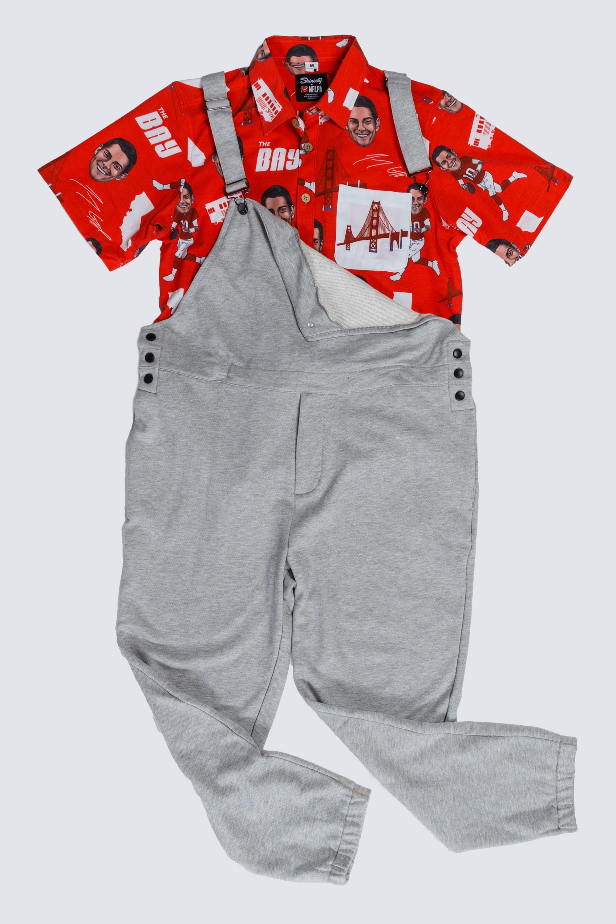 Jimmy Garoppolo Hawaiian paired with heathered grey pajamaralls