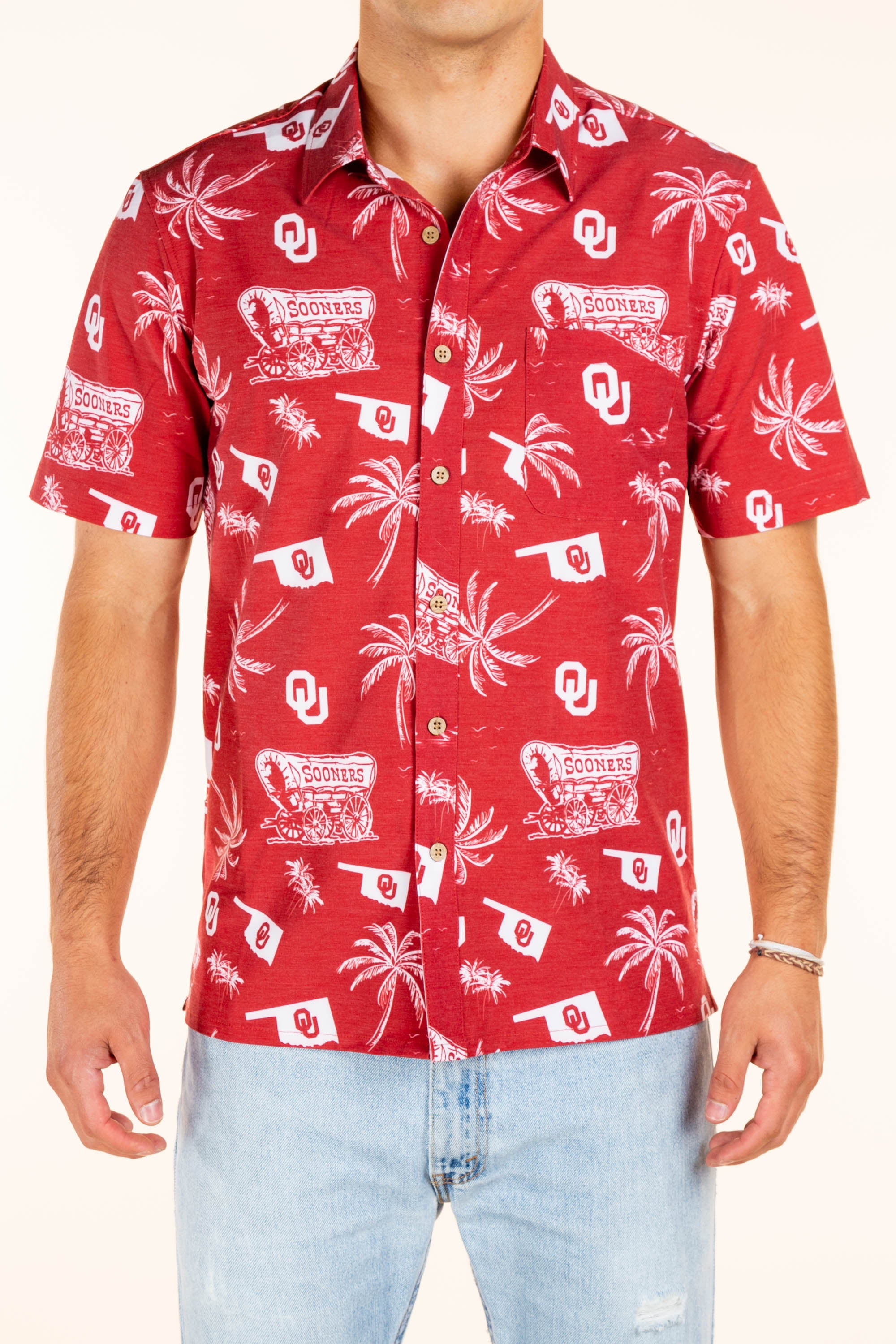 OU men's red hawaiian with palms and wagons