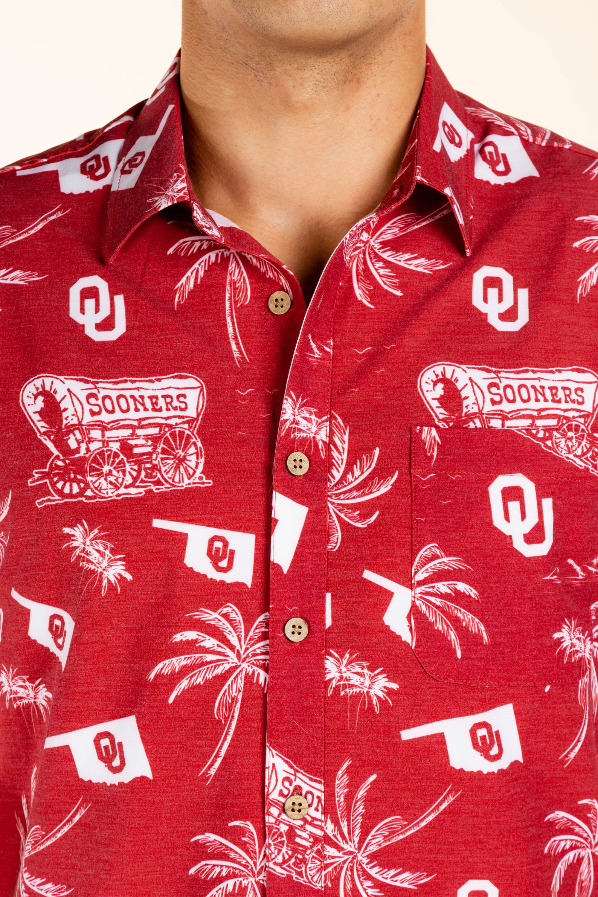 Red OU men's hawaiian shirt