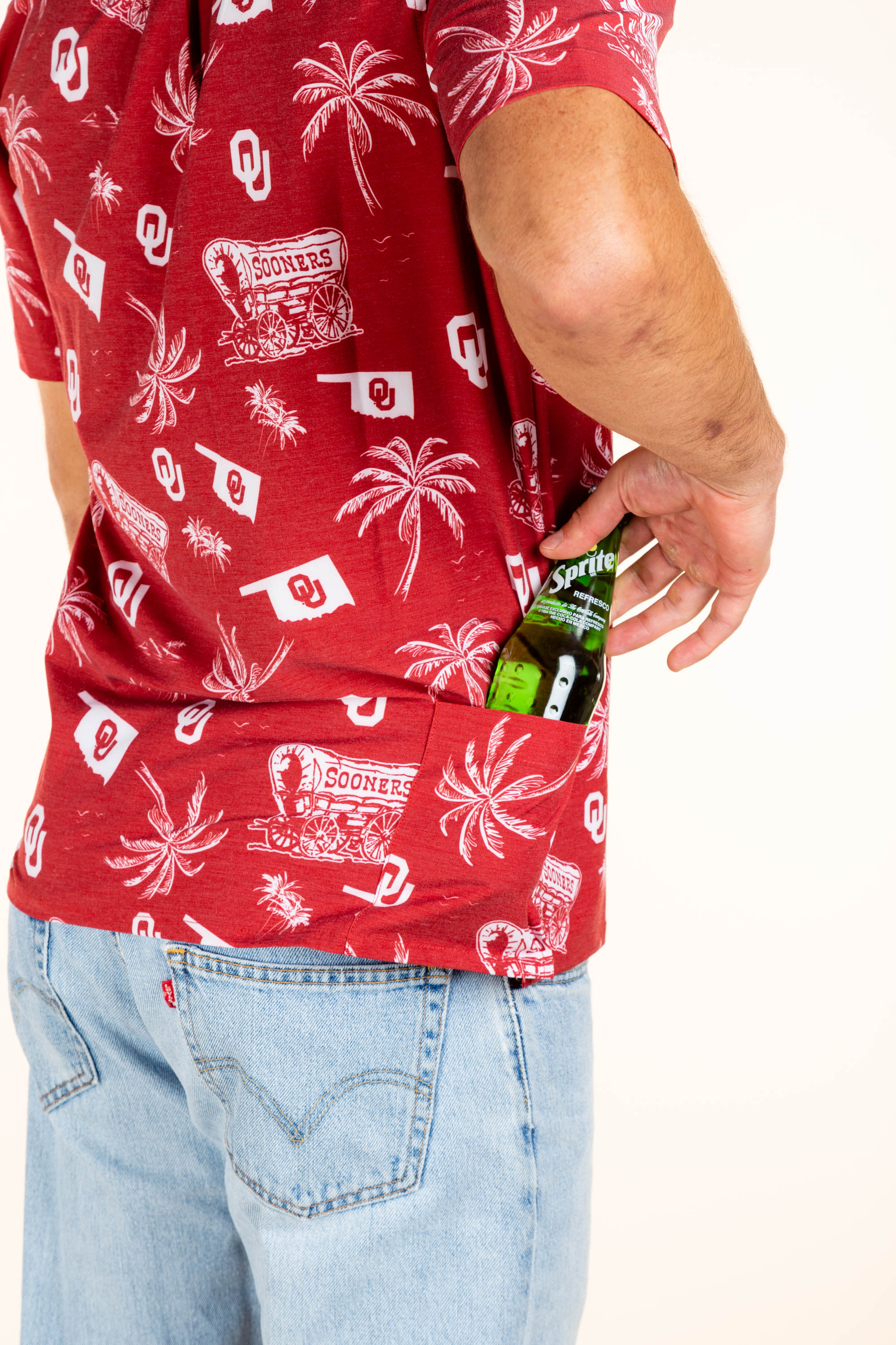 Palm tree and wagon men's hawaiian