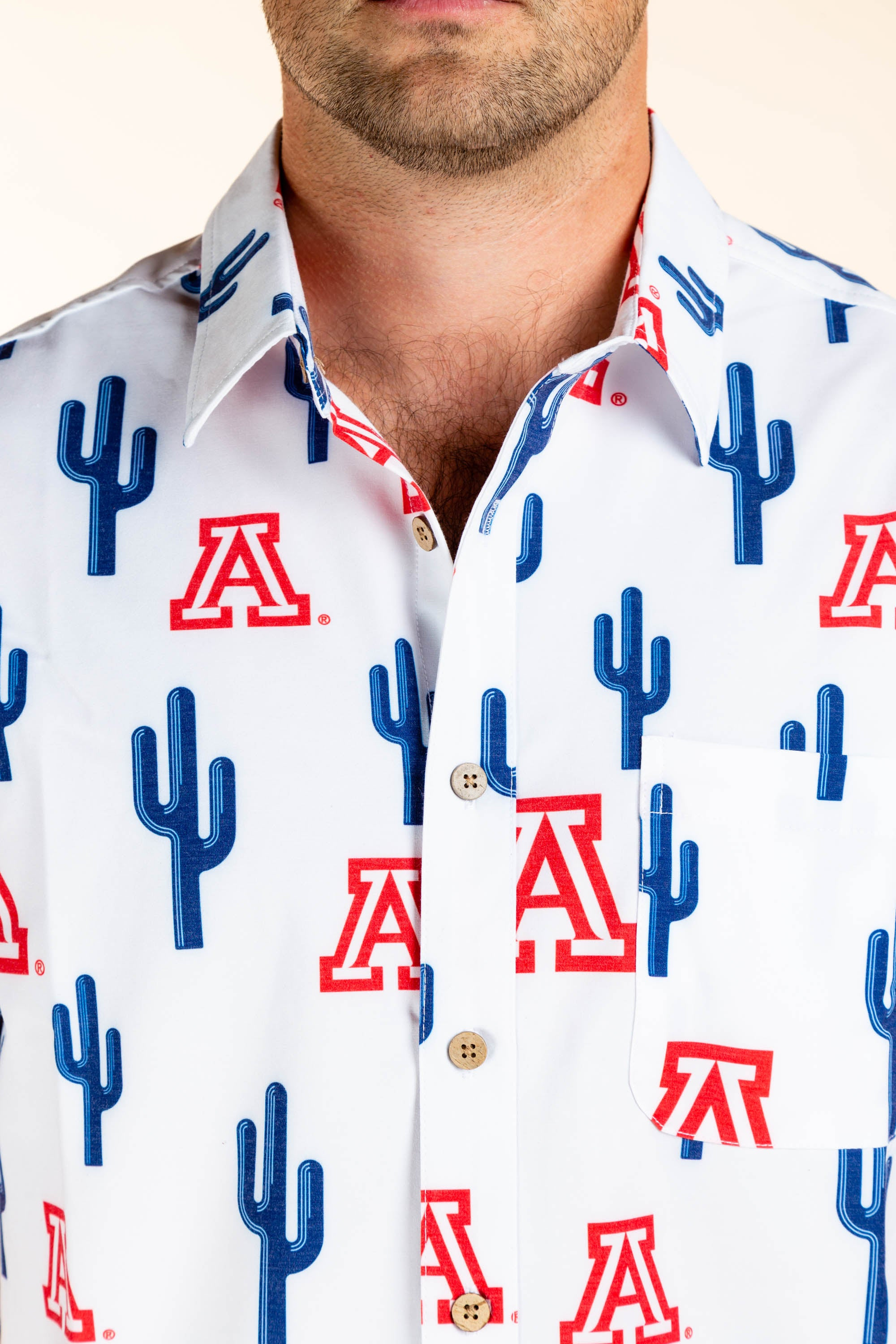 red white and blue men's hawaiian University of Arizona