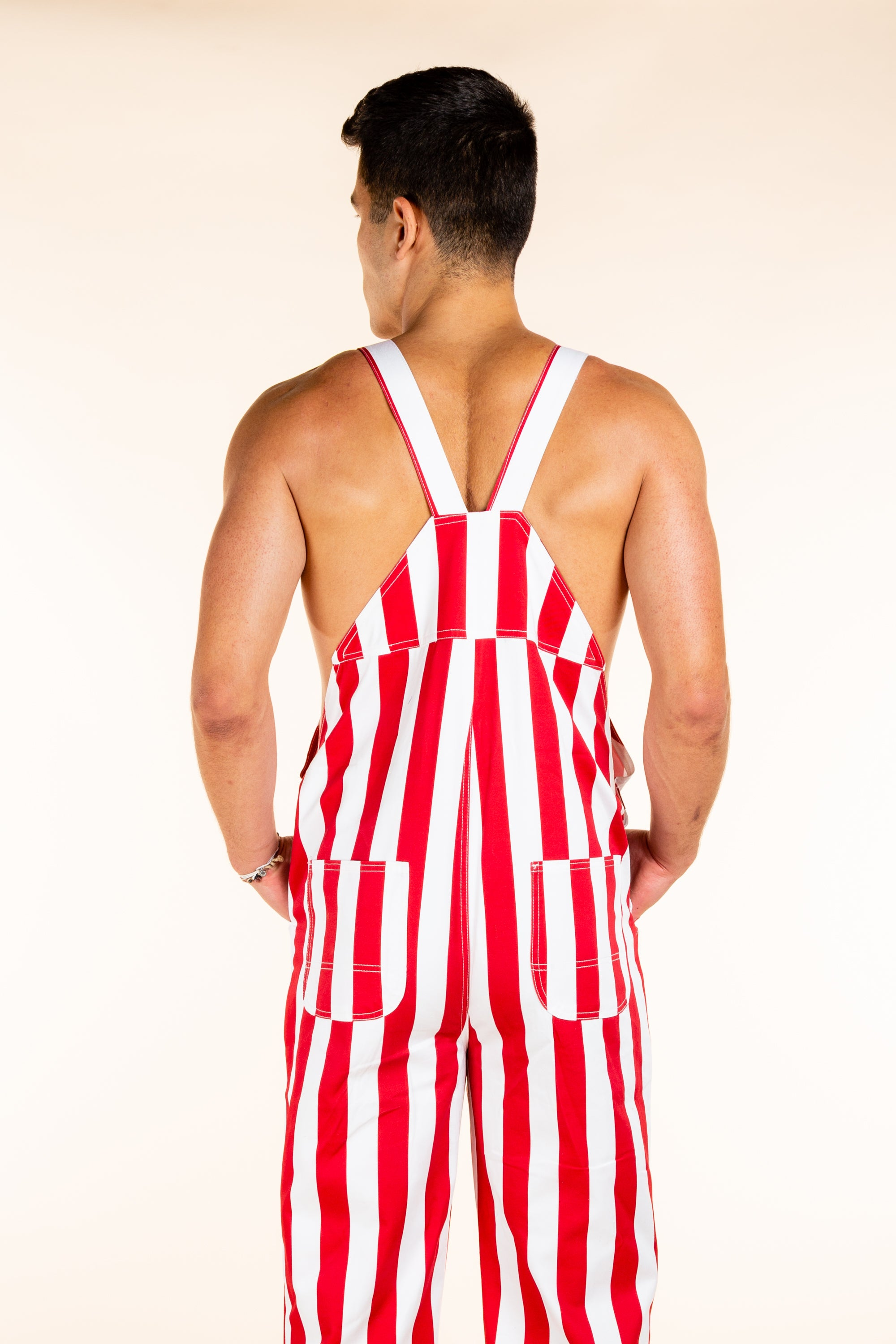 Red and white Striped Overalls