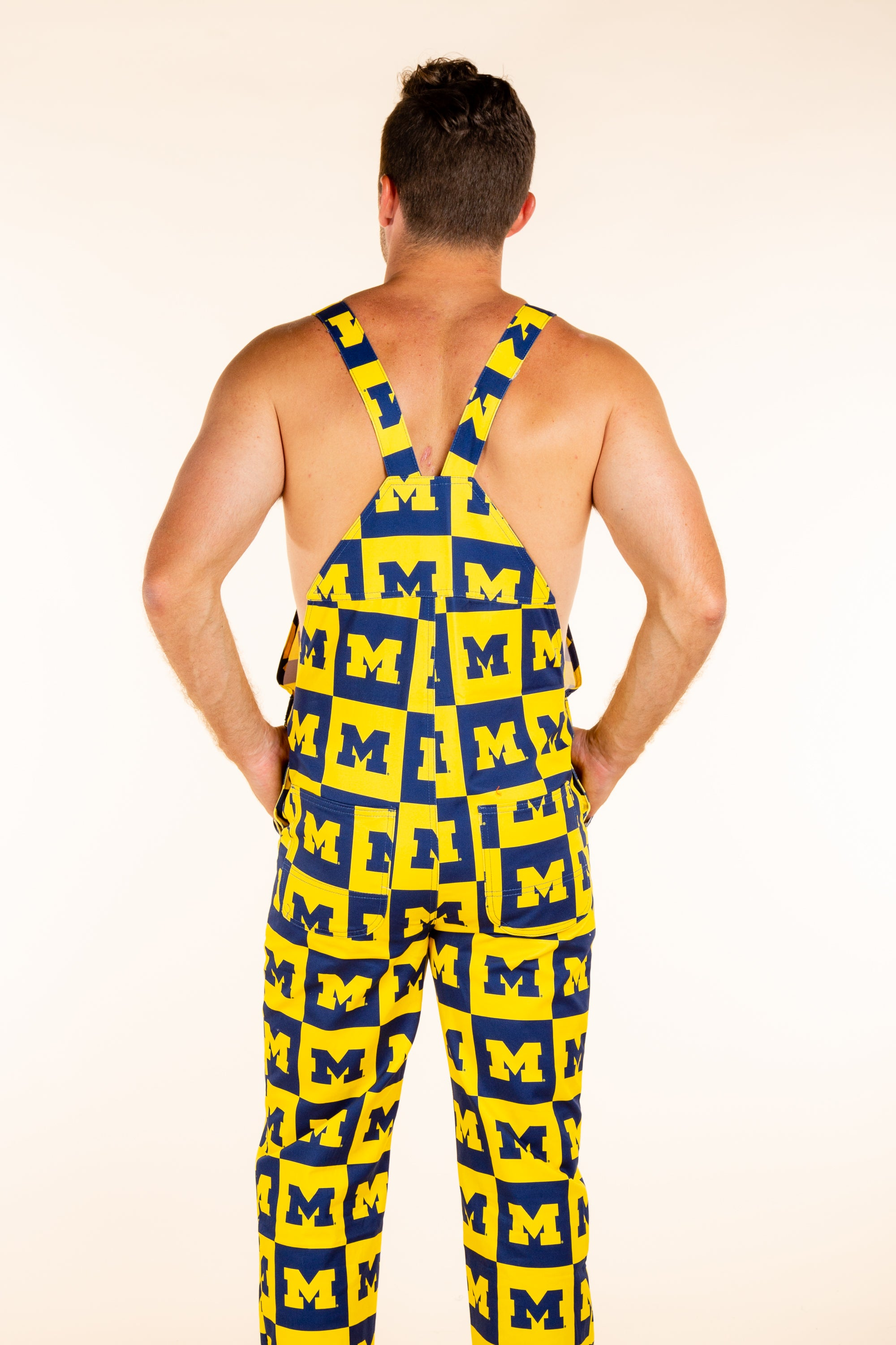 yellow and blue mens overalls