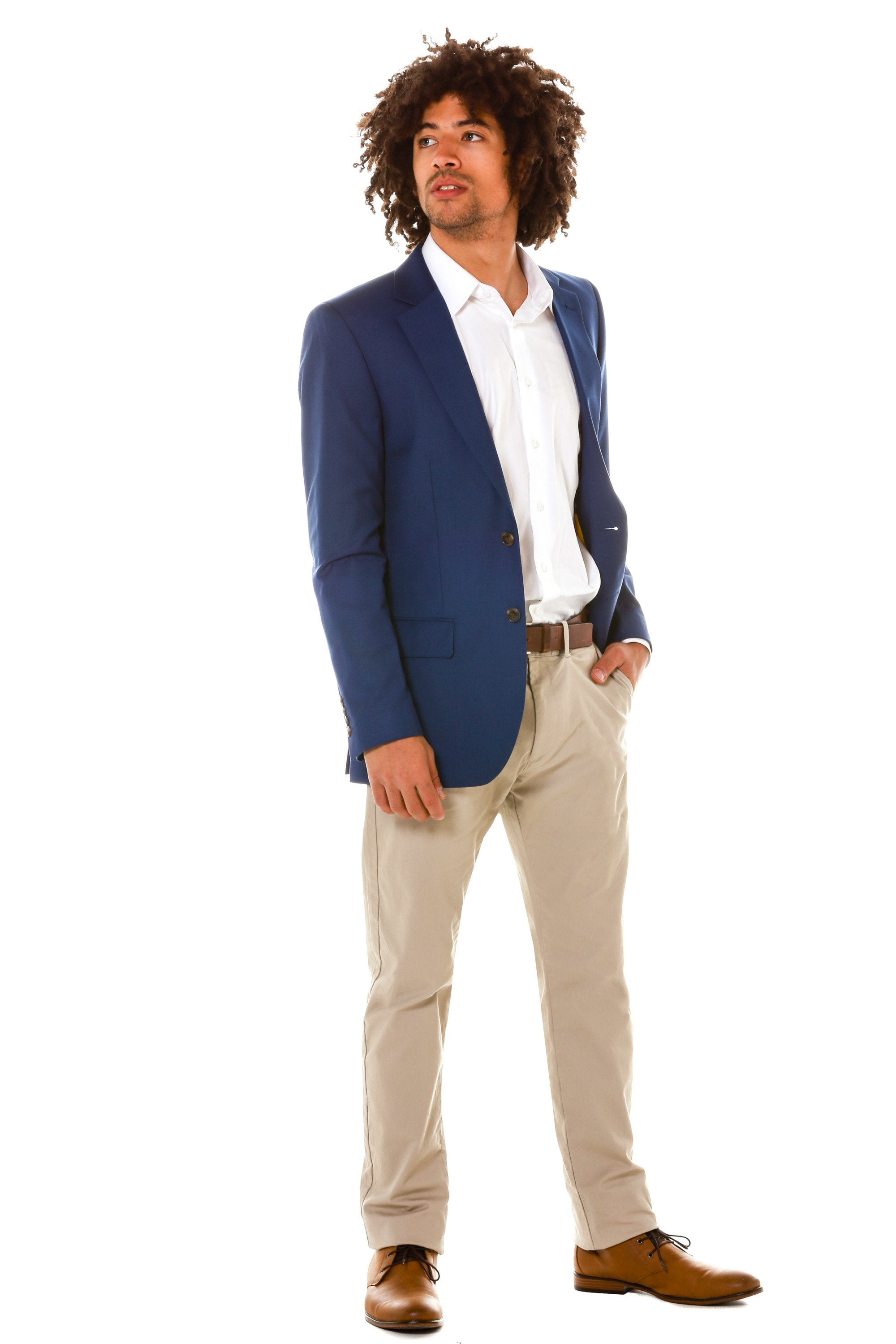 navy blue collegiate blazer for men