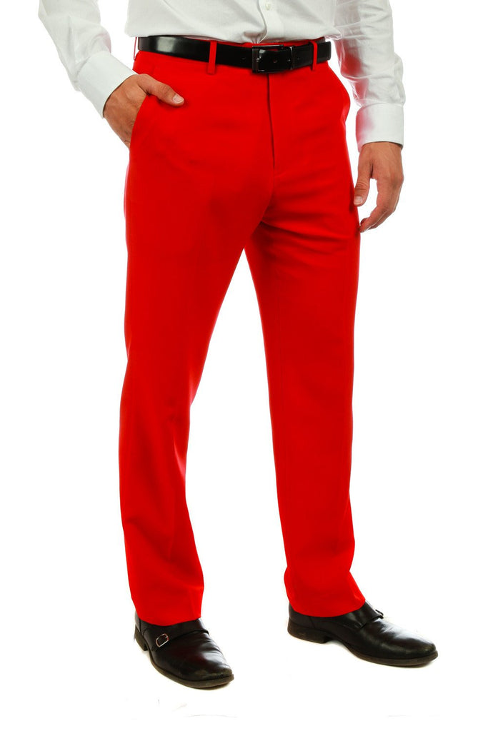 Guys Bold Red Dress Pants by Shinesty