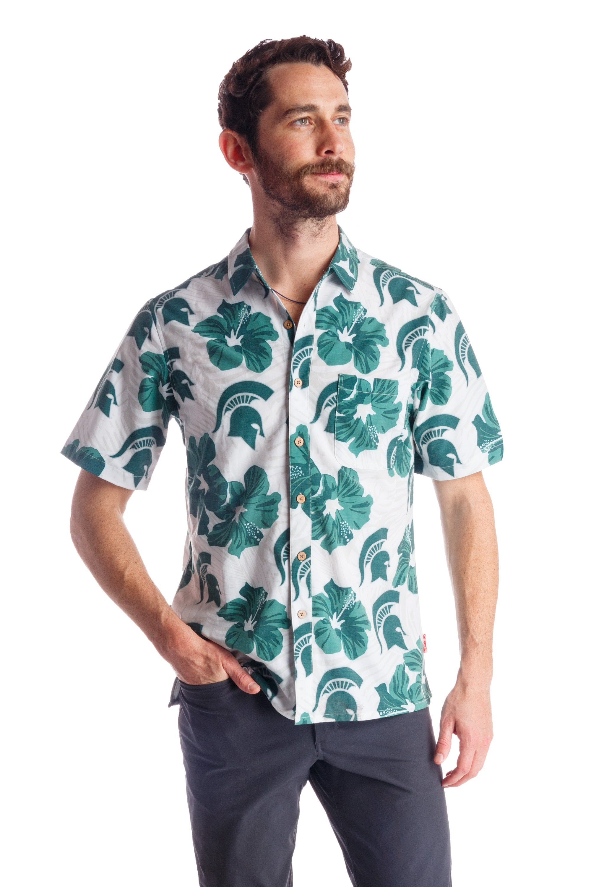 Men's Michigan state university hawaiian shirt