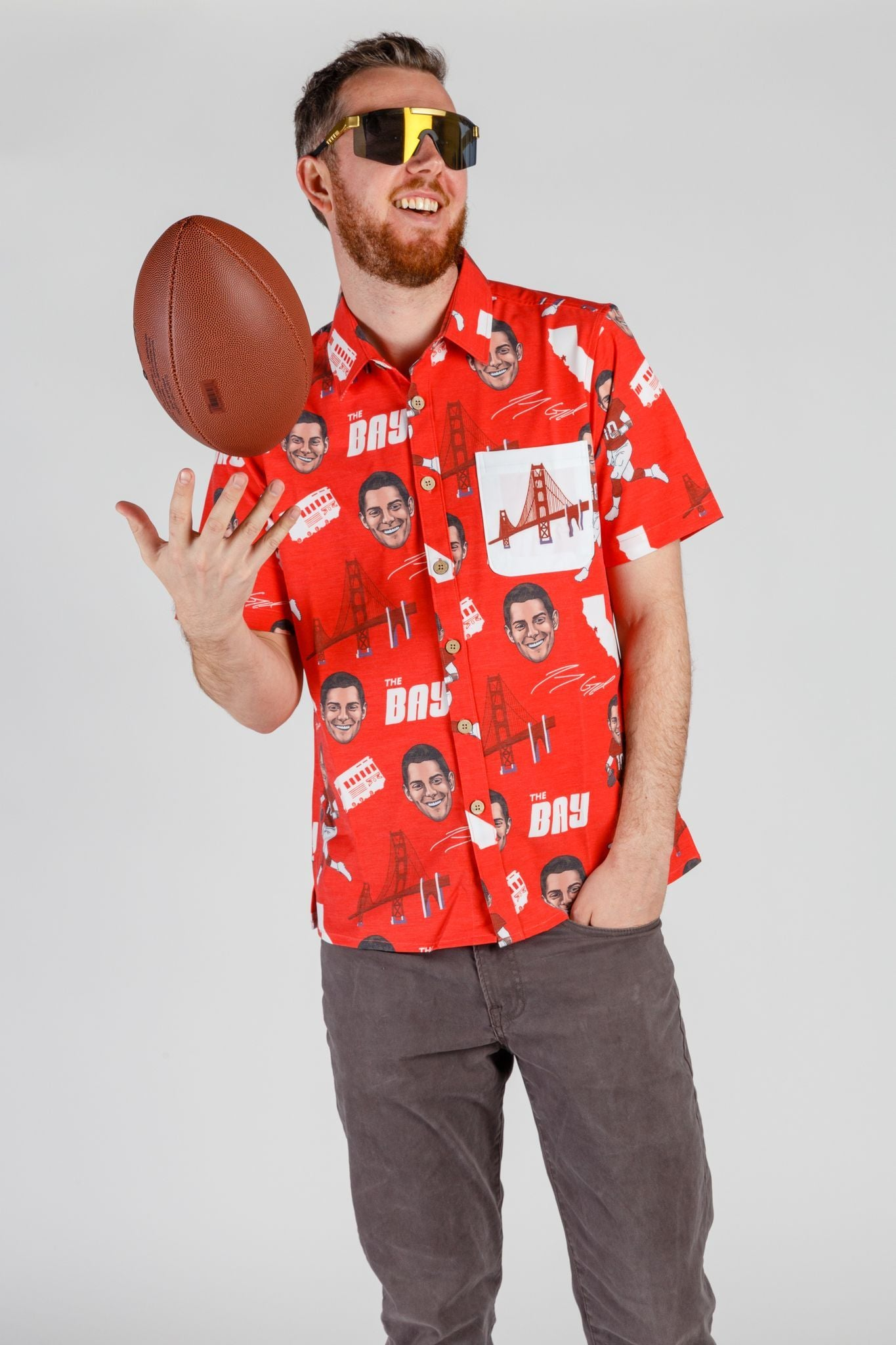 49ers Hawaiian Shirt with Beer Pocket
