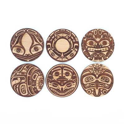 6pc. Cherry Coasters: Northwest Coast Totems