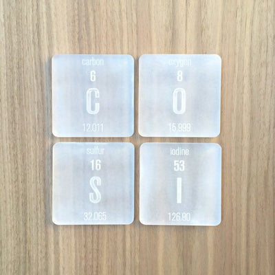Laser Cut Plexiglass Periodic Table Elements Coasters (6 pc)