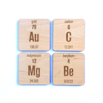 Laser Cut Wood Periodic Table Elements Coasters (6 pc)