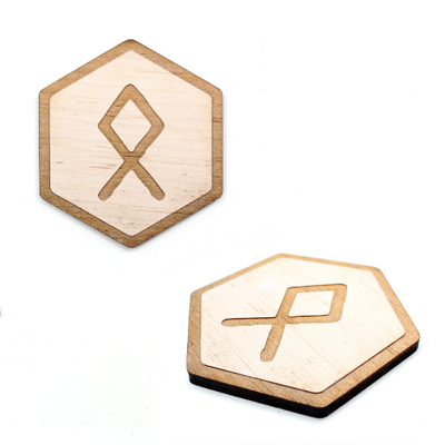 4 pc. Laser Cut Wood Runic Alphabet Coasters