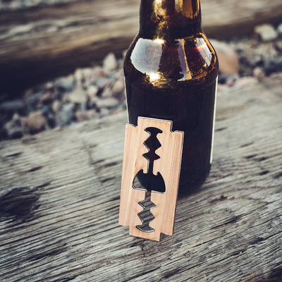 TIMBER Wood Skin Razorblade Bottle Opener