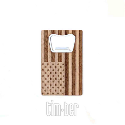 TIMBER Wood Skin Wallet Bottle Opener: Patriot Edition