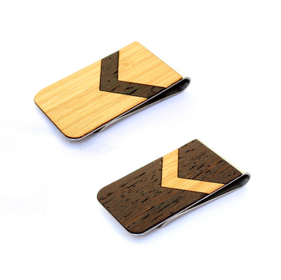 TIMBER Wood Skin Money Clip : Chevron Inlay Edition