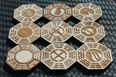 6pc. Laser Cut Basswood Coasters: Dharma Initiative