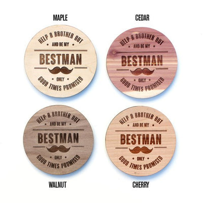 Laser Cut Wood Best Man / Groomsman Coaster