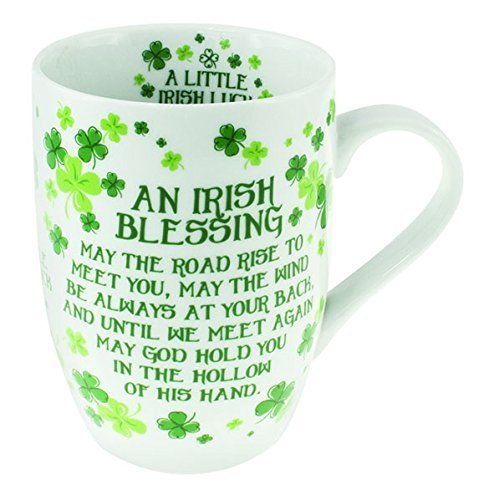 4 Leaf Clover Ceramic Mug Blessing - TheIrishShop