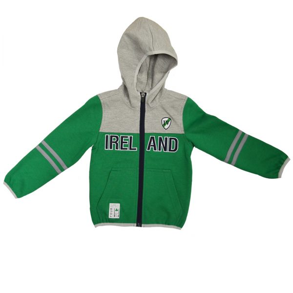 Lansdowne Emerald/Grey Performance Kids Full Zip Hoodie - TheIrishShop