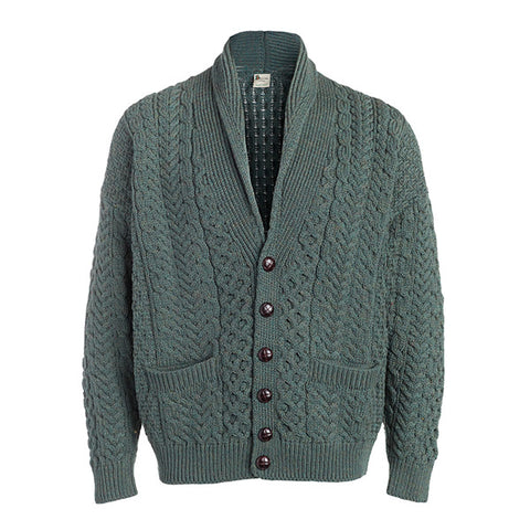 Men's Cable Button Shawl Collar Cardigan