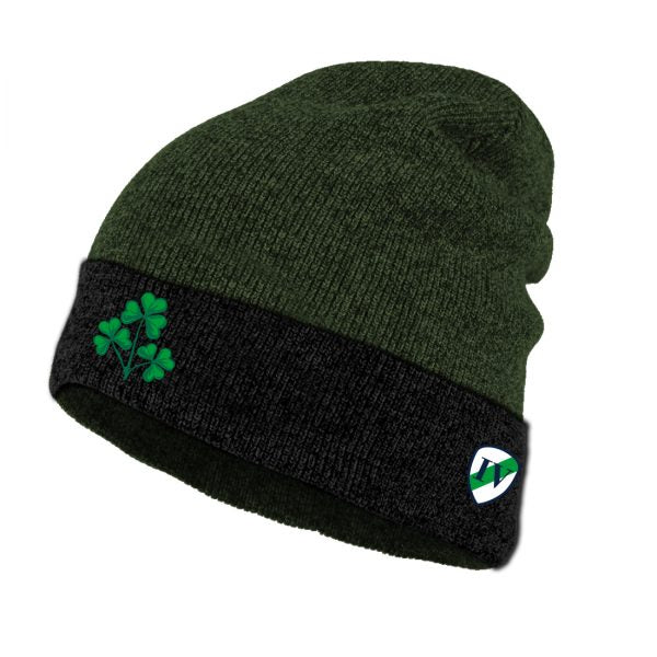 Lansdowne Black/Green Shamrock Turn Up Knit Hat - TheIrishShop