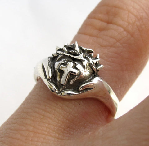 Crown of Thorns Claddagh Ring - Religious Silver Cross Ring