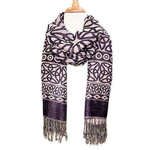 Celtic Weave Scarf,  Irish Style Pashmina Scarf, Purple - TheIrishShop