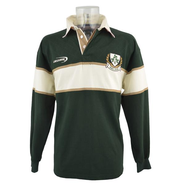 Bottle Green Ireland 3 Shamorck Crest Long Sleeve Rugby Shirt - TheIrishShop
