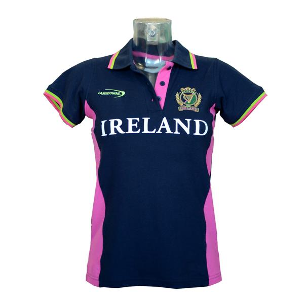 Navy/Pink Ireland Harp Polo Shirt - TheIrishShop