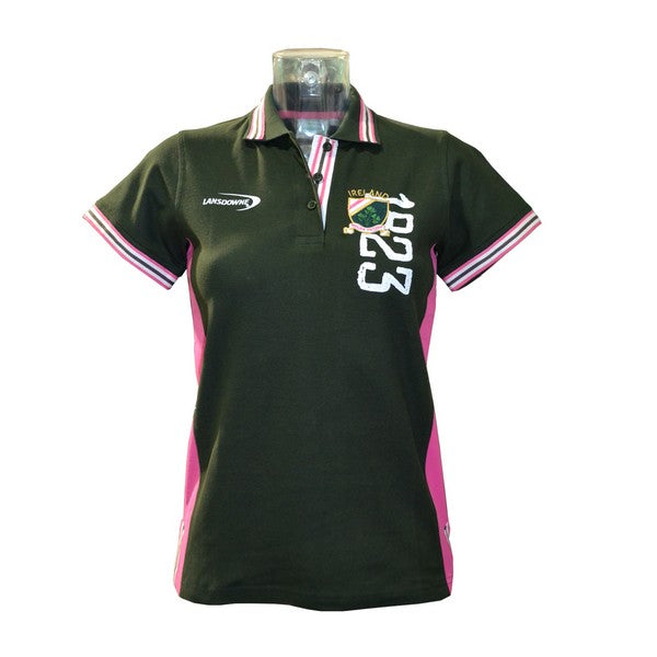 Green/Pink 3 Shamrock Crest 1823 Ladies Polo Shirt - TheIrishShop