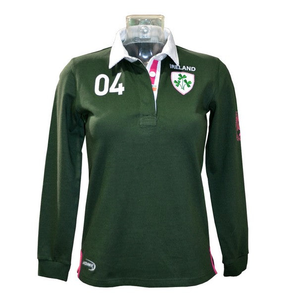 Green Ireland 3 Shamrock Ladies Rugby Shirt - TheIrishShop