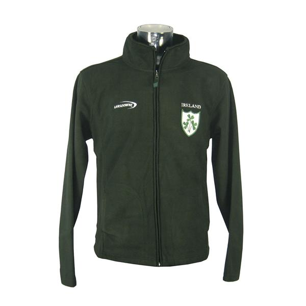 Bottle Green 3 Shamrock Fleece Fleece Zip Jacket - TheIrishShop