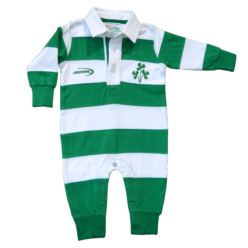 Green/White Striped Lansdowne Baby Romper - TheIrishShop
