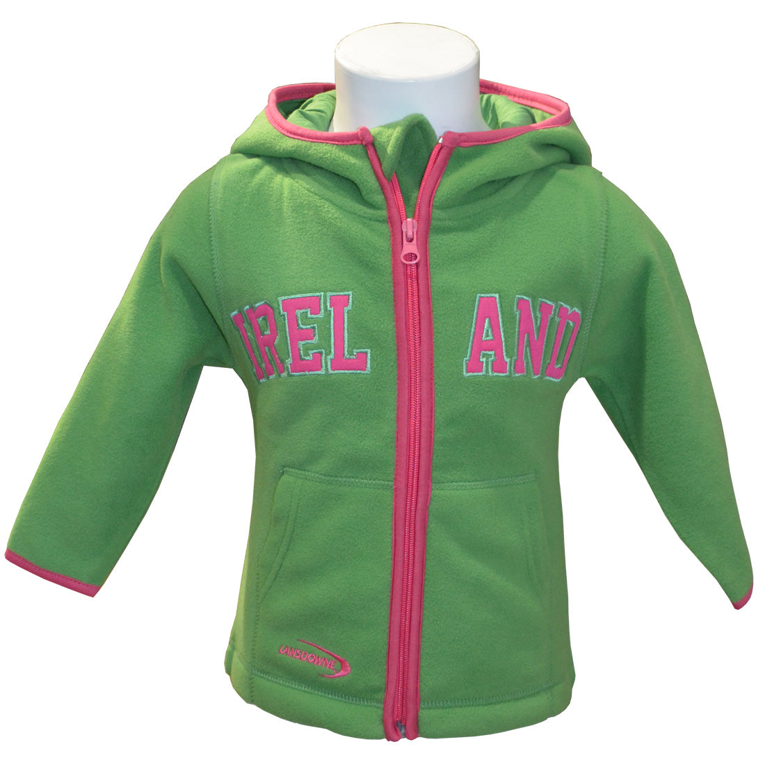 Girls Green/Pink Ireland Fleece Zip Hoodie - TheIrishShop