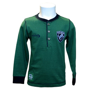 Sage Green Kids Rugby Henley Long Sleeve Top