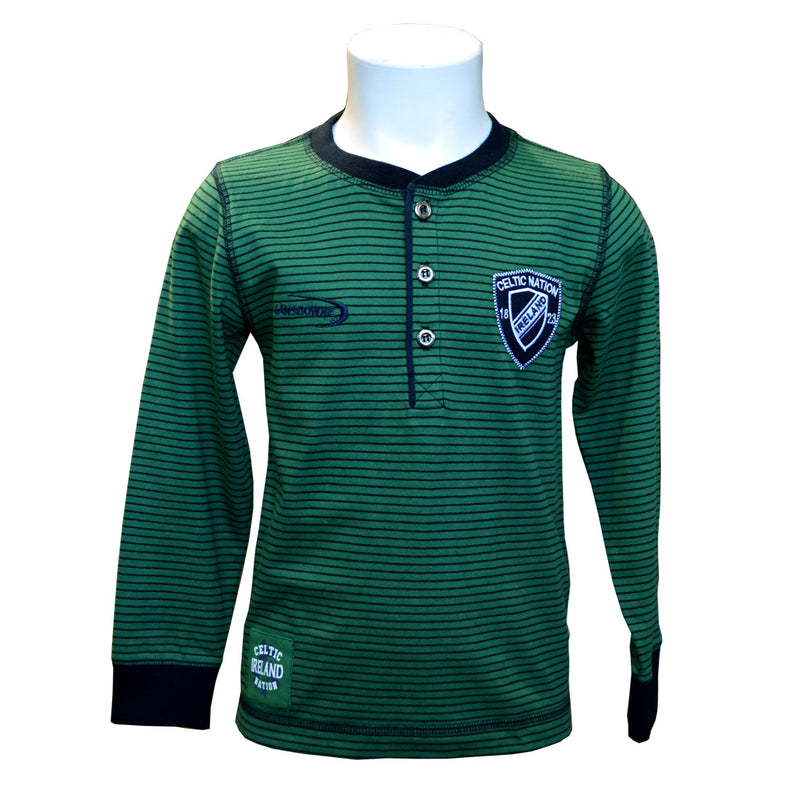 Sage Green Kids Rugby Henley Long Sleeve Top - TheIrishShop