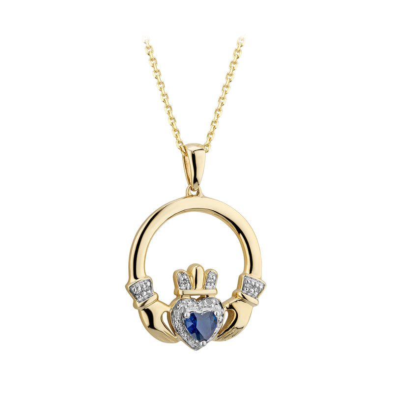Claddagh Pendant | 14K Gold | Diamond and Sapphire | Solvar - TheIrishShop