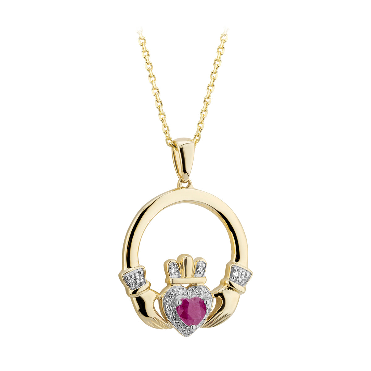 Claddagh Pendant | 14K Gold | Diamond and Ruby | Solvar - TheIrishShop