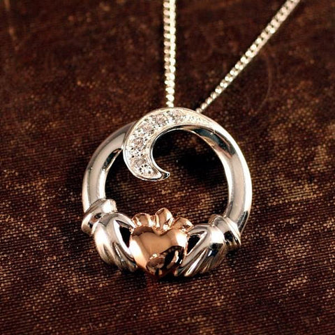 Spiral Claddagh Necklace